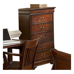 Homelegance - Homelegance Chateau Brown 33 Inch Chest in Warm Cherry - The Chateau Brown collection is a traditional Louis Philippe bedroom in updated warm distressed cherry finish. This traditional set features an elegant panel bed, rounded edge mirror, and antiqued brass hardware.