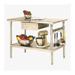 """John Boos - Cucina Americana Forte Prep Table - Features: -16 Gauge stainless steel top with polished bullnosed corners and edges.-Stainless steel undershelf.-Storage bar with six stainless steel hooks.-Cucina Americana collection.-Product Type: Prep table.-Collection: Cucina Americana.-Hardware Finish: Zinc coated.-Distressed: No.-Powder Coated Finish: No.-Gloss Finish: No.-Base Material: Stainless steel.-Counter Material: Stainless steel.-Solid Wood Construction: No.-Stain Resistant: No.-Warp Resistant: No.-Exterior Shelves: Yes -Number of Exterior Shelves: 1..-Drawers Included: Yes -Number of Drawers: 1.-Push Through Drawer: No.-Drawer Glide Extension: Yes.-Dovetail Joints: No.-Drawer Dividers: No.-Drawer Handle Design: Stainless steel pull..-Cabinets Included: No.-Towel Rack: No.-Pot Rack: Yes.-Spice Rack: No.-Cutting Board: No.-Drop Leaf: No.-Drain Groove: No.-Trash Bin Compartment: No.-Stools Included: No.-Casters (Casters: Included): Yes.-Casters (Casters: Not Included): No-Removable Casters: Yes..-Wine Rack: No.-Stemware Rack: No.-Cart Handles: No.-Finished Back: No.-Swatch Available: No.-Commercial Use: Yes.-Recycled Content: No.-Eco-Friendly: No.-Product Care: Clean with Boos Stainless Steel Cleaner.-Country of Manufacture: United States.Dimensions: -Overall Height - Top to Bottom (Size: 48"""" W x 24"""" D): 36"""".-Overall Height - Top to Bottom (Size: 48"""" W x 30"""" D): 36"""".-Overall Width - Side to Side (Size: 48"""" W x 24"""" D): 48"""".-Overall Width - Side to Side (Size: 48"""" W x 30"""" D): 48"""".-Overall Depth - Front to Back (Size: 48"""" W x 24"""" D): 24"""".-Overall Depth - Front to Back (Size: 48"""" W x 30"""" D): 30"""".-Countertop Width - Side to Side (Size: 48"""" W x 24"""" D): 48"""".-Countertop Width - Side to Side (Size: 48"""" W x 30"""" D): 48"""".-Countertop Depth - Front to Back (Size: 48"""" W x 24"""" D): 24"""".-Countertop Depth - Front to Back (Size: 48"""" W x 30"""" D): 30"""".-Shelving: Yes.-Drawer: Yes.-Cabinet: No.-Stool: No.-Overall Product Weight (Size: 48"""" W x 24"""" D): 100 lbs.-Overall Product Weight"""