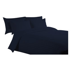 400 TC Duvet Set Striped Navy Blue, Queen - You are buying Duvet Set, Includes 1 Duvet Cover (88 x 88 Inches) and 2 Pillowcases Only.