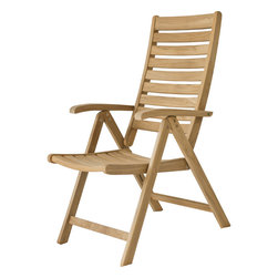 None - Reclining Natural Solid Teak Outdoor Dining Chair - For the ultimate in relaxation in your exterior living space, you cannot beat this outdoor teak dining chair. This triple-sanded chair has an ergonomic shape that works with your bodys natural shape to provide you with a super comfortable seat.