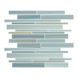 "Rocky Point Tile - Reflections Linear Glass Mosaic Tiles, 10 Square Feet - Introducing our new Reflections linear glass mosaic tiles. A hand painted mix of soft greens, blues, ocher, and a touch of black. Each sheet is 12"" x 12"" and includes a complex mix of random rectangular glass pieces. Reflections is also available in a small subway mosaic. A great choice for a kitchen backsplash or accent wall in a bathroom. These tiles repeat every 6 inches making for a great accent strip for a shower or tub surround."