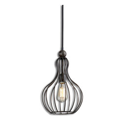 Uttermost - Bourret 1-Light Pendant - Sometimes you have that Aha! moment. This might be it. If your space is lacking lighting and you want a clean, designer look without paying designer prices, take a peek at this pendant. Simple, structured and it's all about the design. Antique style bulb included!