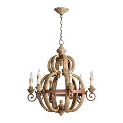 Cyan Design - Cyan Design Atocha Six Light Chandelier in Sutherland Buff and Rust Finish - Atocha Six Light Chandelier in Sutherland Buff and Rust Finish with Candle Shaped Bulbs
