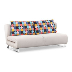Cement Body & Color Block Back Cushion Conic Sofa Sleeper - This cement body sofa sleeper with color block back cushion by Zuo Modern has an chromed steel finish and is from their Conic collection. It's the perfect sofa sleeper to compliment any living room!