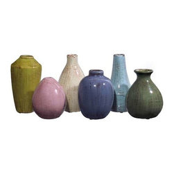 Mini Tuscany Vases - Set of 6 - Set of six mini ceramic Tuscan style vases in varying shapes and colors.
