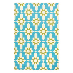 Jaipur Rugs - Moroccan Pattern Polypropylene Blue/Green Indoor-Outdoor Area Rug ( 2x3 ) - Inspired by the rich history and range of design movements that have defined the architecture of Spain's cultural center, the Barcelona Collection brings a transitional flair to any indoor or outdoor space. Whether the style leans towards fun, boldly-scaled flourishes or understated simplicity, this broad range offers something for every taste. Artfully developed in hand-hooked polypropylene, Barcelona pairs the durability necessary to withstand the elements with the colorful spirit of the Catalonian countryside.