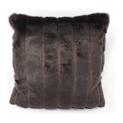 Austin Horn Classics - Austin Horn Classics Roven Luxury Down Fill Fur Pillow - Update your home decor with a beautiful luxury fur pillow by Austin Horn Classics. The pillow showcases a French faux feather featuring a brown and black mink pattern with a feather down insert.