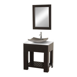 Wyndham Collection - Zen 2 Espresso with White Glass Top with Black Granite Sink - The Zen II Modern Bathroom vanity is as solid as it is stylish. Sturdy high-quality construction, multiple sink options, single-hole faucet choices, and a stunning white glass counter allow you to customize the Zen II to your taste and decor. Dimensions: 30 in. x 24 in. x 36 in.