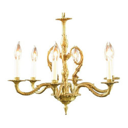 Ornate Golden Metal Vintage French Chandelier - This high quality vintage French chandelier dates to 1950 and features an elegant vine motif. Superb embossing and modeling elevates this golden metal chandelier to a work of art. Six graceful, molded arms hold electric candles to illuminate your space. A cascade of vines twine from the light fixture's body to the arms.The chandelier is in good overall condition, but it does have signs of normal age appropriate wear including some surface rust, nicks, dings, and scratches.