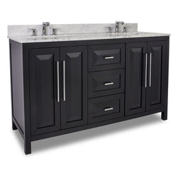 """Hardware Resources - Lyn Design VAN101D-60-T 60"""" Double Vanity with Top - This 60"""" wide solid wood double vanity features a clean, leading-edge design with a sleek black finish for a modern look. The large cabinets with adjustable shelf and center bank of drawers give this vanity ample storage. The cabinet is fitted with soft close hinges and the drawers feature full extension undermount soft close drawer slides. This vanity has a 2CM Carerra white marble top preassembled with two H8910WH bowls, cut for 8"""" faucet spread and corresponding 2CM x 4"""" tall backsplash. Overall Measurements: 60"""" x 22"""" x 36"""" (measurements taken from the widest point)"""