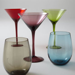 "Horchow - Four ""Venezia"" Martini Stems - Attractive hues of glassware imbue any celebratory occasion with clean and simple elegance. Handcrafted of glass. Dishwasher safe. Each size sold in sets of four. Double old-fashioneds hold 20 oz. Martini stems hold 8 oz. Imported."