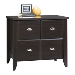 Sauder - Shoal Creek Lateral File Cabinet in Jamocha W - Hidden storage behind simulated drawer fronts and doors. Lower drawer features full extension slides and holds letter, legal or European size hanging files. Made of engineered wood. Assembly required. 35 in. W x 22 in. D x 30 in. H