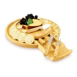 Picnic Time - 'Colby' Cheese Board Serving Tray - The Colby by Picnic Time is a combination cheese board and serving tray with a hidden pull-out drawer.  Compact and ready to use in a jiffy,the 'Colby' also makes a delightful gift for people who enjoy entertaining.