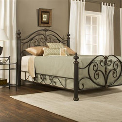 Hillsdale Furniture - Poster Bed Set with Rails (King) - Choose Size: KingSweeping scrollwork with delicate castings and commanding posts and finials to create a style that is graceful yet substantial. Versatile brushed bronze finish and impressive matching side rails. Fully welded construction boasting foundry poured aluminum castings and heavy gauge tubular steel. 66.5 in. W x 88 in. D x 58.25 in. H (116 lbs.)