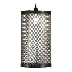"""Cage Light 10"""" W x 18"""" H - Make a vertical statement with the fine reclaimed-metal lattice of this tall version of the Cage Light. Painted a battered black, the distressed screen which surrounds the single bulb shades the light with dynamism and drama, creating an active, intimate accent light to illuminate an entryway or table. The slender column of recycled metal adds a breathtaking yet utterly simple transitional scheme to your decor."""