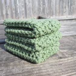 Green Cotton Wash Cloth Set, Dish Cloth Set, Housewares - Crocheted with green cotton yarn, this dish cloth/wash cloth set is a great way to go green. Handmade cloths last longer therefore saving you money and saving space in the land fills :)