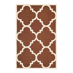 Safavieh - Cora Hand Tufted Rug, Dark Brown / Ivory 5' X 8' - Construction Method: Hand Tufted. Country of Origin: India. Care Instructions: Vacuum Regularly To Prevent Dust And Crumbs From Settling Into The Roots Of The Fibers. Avoid Direct And Continuous Exposure To Sunlight. Use Rug Protectors Under The Legs Of Heavy Furniture To Avoid Flattening Piles. Do Not Pull Loose Ends; Clip Them With Scissors To Remove. Turn Carpet Occasionally To Equalize Wear. Remove Spills Immediately. Bring classic style to your bedroom, living room, or home office with a richly-dimensional Safavieh Cambridge Rug. Artfully hand-tufted, these plush wool area rugs are crafted with plush and loop textures to highlight timeless motifs updated for today's homes in fashion colors.