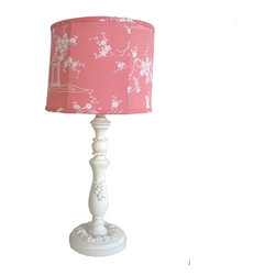 Pink Pagoda Drum Lamp - This adorable melon pagoda lamp is just adorable in any little girl's room, features antique finished appliques paired with a sweet drum style shade.