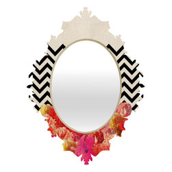 DENY Designs - Bianca Green Chevron Flora 2 Baroque Mirror - As we like to say around here, if it ain't baroque, don't hang it! With a sleek mix of baltic birch ply trim that's unique to each piece and a glossy aluminum frame, the baroque mirrors collection bumps your stylish reflection up a notch. Custom made in the USA for every order.