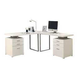 Monarch Specialties - Monarch Specialties I 7027-3 White 3 Piece Hollow-Core L-Shaped Desk Set - Creating a striking look to your home office. This simple yet practical white finish hollow-core 3pc desk set is the perfect addition to your home office. With the addition of the wedge corner unit between the desk, it helps to create space for a more generous work station. The mobile side drawers provide you with space to store office supplies, papers, books, files folders, and plenty more. Use the spacious table top for your computer, a lamp and even some pictures. Desk (2), Corner Wedge (1)