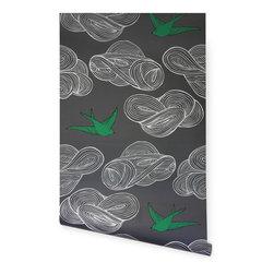 Daydream Wallpaper, Gray - This bird motif wallpaper by designer Julia Rothman captures a whimsical spirit.