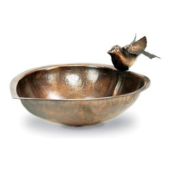"""Achla - Birdbath & Feeder w Heart Shape - This birdbath is made of the very classic and reliable solid brass, given an antique finish for a sophistication and flair of refinery.  A delicate hummingbird perches at the pinnacle of its heart shape, a perfect receptacle for either water or birdseed for feathered friends. * This birdbath is made of the very classic and reliable solid brass, given an antique finish for a sophistication and flair of refinery. A delicate hummingbird perches at the pinnacle of its heart shape, a perfect receptacle for either water or birdseed for feathered friends. Solid brass with and antique finish9""""W. Couple your birdbath w any of our stylish Birdbath Stands"""