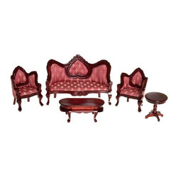 Town Square Miniatures - Mahogany & Rose Victorian Living Room Dollhouse Miniature Set - T0102 - Shop for Dollhouses and Dollhouse Furnishings from Hayneedle.com! Perfectly suited to your traditional-style dollhouse the Mahogany & Rose Victorian Living Room Dollhouse Miniature Set stands out with rich colors and ornate detailing. Create an inviting historically accurate living room with this 5-piece set with 1-inch scale. It includes a pair of armchairs matching sofa end table and coffee table. Crafted from beautifully carved durable wood these pieces feature a deep classic Mahogany finish and vibrant Rose print upholstery. This exquisite set is suitable for use in collector dollhouses. As it includes small pieces it's not recommended for children under 13.