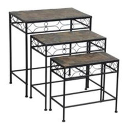 WORLDWIDE SOURCING - Mosaic Slate Plant Stands - This item cannot be shipped to APO/FPO addresses. Please accept our apologies.