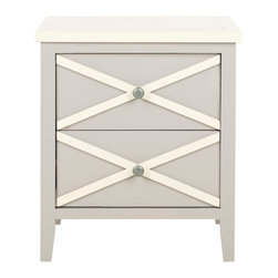 Safavieh - Sherrilyn 2 Drawer Side Table - The classic style of the Sherrilyn 2-drawer side table gets updated in a fresh pale grey finish with charming contrasting white top and x-details on the drawers. A perfect companion bedside or beside a sofa.