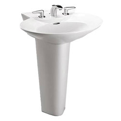 """Toto - Toto LPT908N Sedona Beige Pacifica Pedestal Lavatory Single Hole - The Toto LPT908N#12 is a complete pedestal lavatory, with elegant curves and contemporary design, part of the Pacifica Suite from Toto USA. The Toto LPT908N#12 measures 25 5/8 """" x 19 1/2"""", faucet mounts on single hole and comes in sedonia beige finish"""