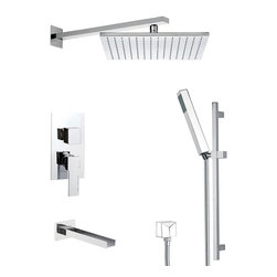 Remer - Modern Shower System with Sliding Rail, Matte Black - Add this quality, contemporary tub and shower faucet to your already modern & contemporary master bathroom.