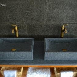 "TORRENCE 23""X16"" TRENDY GRAY GRANITE BATHROOM VESSEL SINK - Reference: BB511-US"