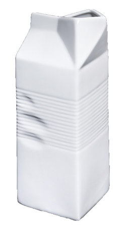 Frieling - Porcelain Milk Carton - Grab hold of this carton and you won't feel cardboard, but cool-to-the-touch porcelain. The whimsical container adds an even bigger smile to breakfast time and more joy to baking.