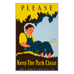 Please Keep the Park Clean Print - Please Keep the Park Clean, WPA poster created by Stanley Thomas Clough for the Federal Art Project out of Ohio in 1938. Printed as a color silkscreen.