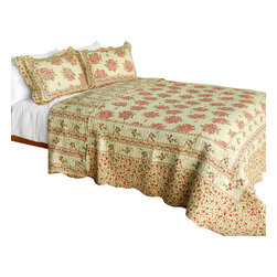 Blancho Bedding - Foliflora Cotton 3PC Vermicelli-Quilted Patchwork Quilt Set  Full/Queen Size - Set includes a quilt and two quilted shams (one in twin set). Shell and fill are 100% cotton. For convenience, all bedding components are machine washable on cold in the gentle cycle and can be dried on low heat and will last you years. Intricate vermicelli quilting provides a rich surface texture. This vermicelli-quilted quilt set will refresh your bedroom decor instantly, create a cozy and inviting atmosphere and is sure to transform the look of your bedroom or guest room. Dimensions: Full/Queen quilt: 90 inches x 98 inches  Standard sham: 20 inches x 26 inches.