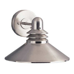 Kichler Lighting - Kichler Outdoor Wall Light - 9044NI - This outdoor wall light features sleek lines, subtle details and a bright nickel finish. Slats in the top of the conical shade emit a slight glow to supplement the downlight below. Takes (1) 150-watt incandescent G40 bulb(s). Bulb(s) sold separately. UL listed. Wet location rated.