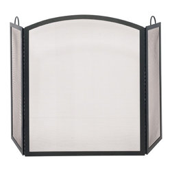 Uniflame - Tri-Fold Medium Fireplace Screen w Arched Mid - Shield your home from embers & ash with this stylish Fireplace Screen.  Elegant crested middle panel adds subtle curves and splendid appeal.  Generous proportions offer comprehensive coverage for a variety of fireplace sizes.  Great for your home fireplace…you can also pack and take elsewhere, too!  Designed for optimum performance, this screen has robust details, too. * Stylish Screen is Functional and Attractive. Maintains Fireplace Safety. Allows For Ease and Comfort with Fireplace Maintenance. 51.5 in. W x 31 in. H