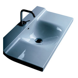 """WS Bath Collections - Buddy 3403 Wall Mounted Bathroom Sink 31.5"""" x 16.5"""" - Buddy by WS Bath Collections Bathroom Sink 31.5"""" x 16.5"""", Wall Mounted Washbasin, -Made in Italy"""