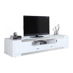 White Line Imports - Franco High Gloss White TV Stand - Featuring plenty of storage space for your media and A/V components, the Franco High Gloss White TV Stand by White Line Imports is an ultimate comfortable entertainment unit.
