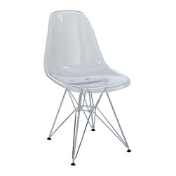 LexMod - Plastic Side Chair in Clear with Wire Base - These molded plastic chairs are both flexible and comfortable, with an exciting variety of base options. Suitable for indoors or out, appropriate for the living and dinning room, these versatile chairs are a great addition to any home dcor statement.