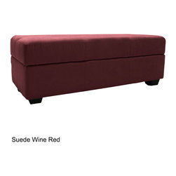 EpicFurnishings - Vanderbilt Microfiber Tufted Padded Hinged Loveseat Storage Ottoman Bench - Keep your home more organized with this storage ottoman bench from Vanderbilt. This microfiber ottoman features a panel-stitched design and a fabric lined interior. Available in several color options, this piece is sure to complement your home.