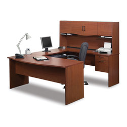 """Bestar - Harmony U-Shaped Workstation in Bordeaux & Charcoal - Harmony is functional and strong which is perfect for your home office space. Durable 1"""" commercial grade work surfaces with melamine finish that resist scratches, stains and wears. The U-shaped desk offers one utility drawer and one file drawer with letter/legal filing system. Drawers and keyboard shelf are on ball-bearing slides for smooth and quiet operation. One lock secures both drawers. The hutch offers closed storage and paper management. Fully reversible unit. Also available in Chocolate finish.; Color: Bordeaux; Dimensions: 71.1""""L x 88.6""""W x 61.9""""H"""
