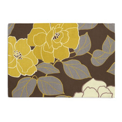 Brown & Yellow Modern Floral  Custom Placemat Set - Is your table looking sad and lonely? Give it a boost with at set of Simple Placemats. Customizable in hundreds of fabrics, you're sure to find the perfect set for daily dining or that fancy shindig. We love it in this stylized oversized floral in modern hues of mustard & lilac gray against chocolate brown.
