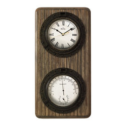BULOVA - Monterey Wall Clock, Thermometer and Hygrometer - Wainscoting panel wood case, antique coffee finish