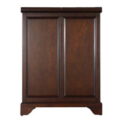 """Crosley Furniture - LaFayette Bar Cabinet in Mahogany - Beautiful Raised Panel Doors. Antique Brass Finish Hardware. Plenty of Room for Storing Barware & Spirits. Doubles as a Serving Station when Entertaining. Adjustable Levelers in Legs. Expands to 62 1/2"""" Wide when Open. Solid Hardwood & Veneer Construction. Front & back of bar have matching finish. 31.25 in. W x 22 in. D x 42 in. H (150 lbs.). Assembly InstructionsConstructed of solid hardwood and wood veneers, this Expandable Bar Cabinet is designed for longevity. The beautiful raised panel doors provide the ultimate in style to dress up your home. The doors open and top folds out to double the size of your entertaining / serving area. Inside the doors, you will find plentiful storage space for spirits, glassware, and a host of other bar items. The center cabinet features 16 bottle wine storage, utility drawer, hanging stemware storage, and extra space for a variety of other barware."""