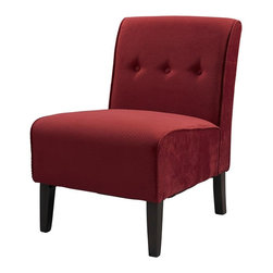 Linon - Coco Accent Chair in Red - Sturdy hardwood frame construction. Some assembly required. Weight Limit: 250 lbs. Button tufted accents. 22.5 in. W x 30 in. D x 33 in. H (20.94 lbs)Classic design meets modern appeal in this superbly comfortable upholstered chair. Substantial, durable padding and a sturdy hardwood frame makes for long lasting utilization. The mix of fabric, button tufting and clean lines adds an air of sophistication and elegance to virtually any home decor. A functional and artistic addition to your living room, bedroom, or den. The rich dark walnut finish frame is complimented by the luxurious red fabric.