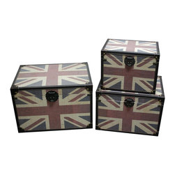 Screen Gems - Britannia Trunks - Set of 3 - Set of 3. Union Jack design. Constructed of high-quality canvas fabric, durable wood,  and faux leather. Great decorative accessories and organizer. It truly combines decoration and function. 24 in. W x 18 in. D x 16 in. H (30 lbs.)