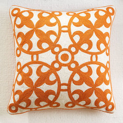 Moroccan Crewelwork Pillow Cover- Orange - Morocco is a country known for its zestful communities. From the deserts in the east to the colorful shoreline views in Casablanca, this area has been recognized for its love of color and lively culture. The designs on our Moroccan Pillows are similar to those found in various details throughout Morocco, woven in a crewel stitch with wool thread. The vibrant color is reminiscent of Morocco's remarkable landscape.