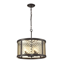 Elk Lighting - Elk Lighting Chandler Collection 4 Light Pendant In Oil Rubbed Bronze - 31452/4 - 4 Light Pendant In Oil Rubbed Bronze - 31452/4 in the Chandler collection by Elk Lighting This series features a crosshatch patterned glass that exudes dazzling light textures.  The glass is held by a heavy metal frame with stepped rings to further enrich the distinction of the design.  Choose between Polished Nickel with clear glass or Oil Rubbed Bronze with champagne glass.    Pendant (1)