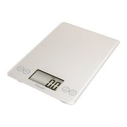 Escali Art Glass Digital Scale - White - The Escali Arti Scale - the new standard in kitchen scales.  Capable of weighing liquid and dry ingredients up to an astounding 15 lbs with an accuracy of 0.1 ounces  or 1 gram. The Arti's list of features is long and loaded with value. Its crisp and clear display  which is 50% larger than commonly found on a kitchen scale  sits between the user friendly touch sensitive controls and results in a single smooth glass surface that is not only beautiful but incredibly functional.            Product Features                    Measures up to 15 lbs (7 kg) in 0.1 ounce (1 gram) increments          Single  smooth glass surface makes clean-up fast and easy          Measures both liquid (fl oz  ml) and dry ingredients (g  oz  lb + oz)          Display Hold feature:  weight holds on screen when weighing large items          Tare feature:  subtracts a container̥s weight to obtain the weight of its contents          Automatic Shut-off feature ensures long battery life (2��lithuim batteries included)          Capacity:  15 lb / 7 kg          Increments:  0.1 oz   1 gram          Auto Shut-off time:  5 minutes          Warranty:  Lifetime Limited Warranty